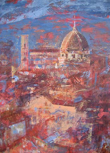 Florencia en rojos. 61x46. Óleo sobre tabla