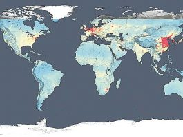 Concentración de NO2. Estado global en el año 2014 (NASA) [1]
