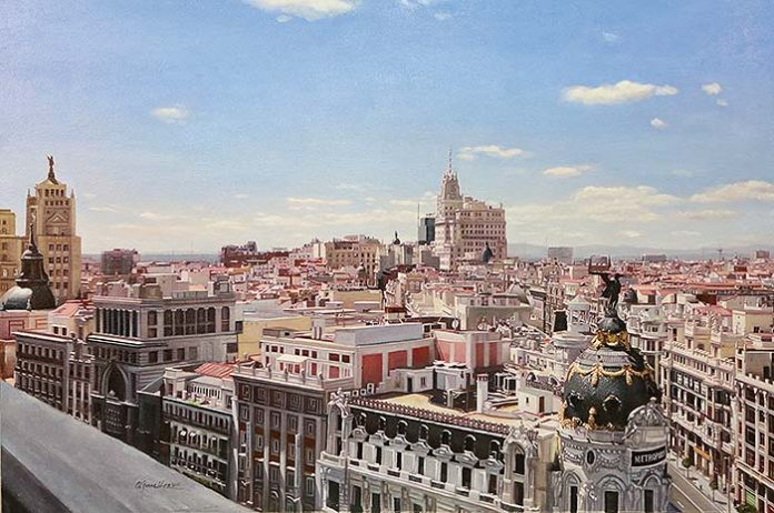 Panorámica de Madrid desde Círculo Bellas Artes. Óleo sobre lienzo. 116 X 81cm
